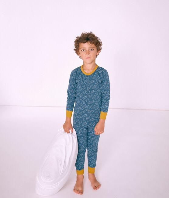 Tutina lunga bambino in cotone blu Shadow / bianco Marshmallow