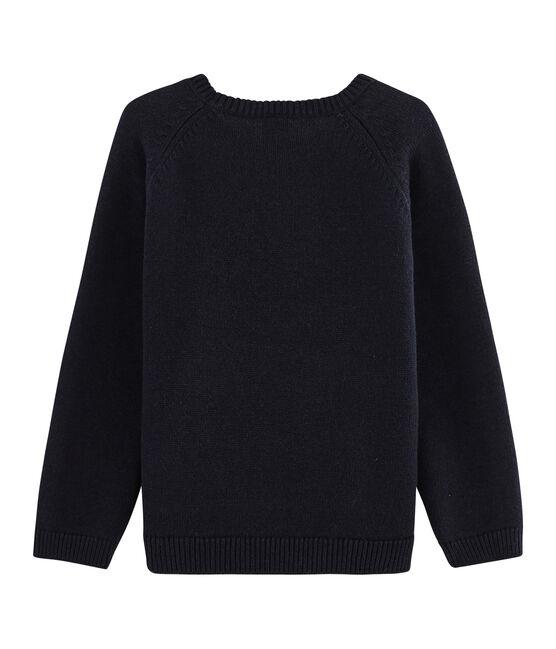Pull in lana e cotone tricot da bambino blu Smoking