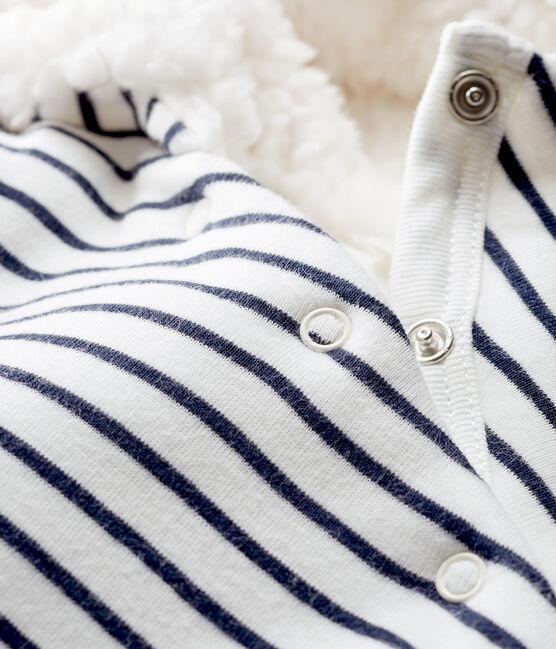 Tutina lunga bebè a costine in ovatta bianco Marshmallow / blu Smoking Cn
