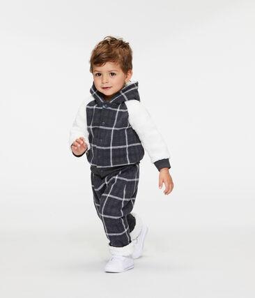 Pantalone bebè maschio a scacchi doppiato in sherpa nero City / bianco Multico