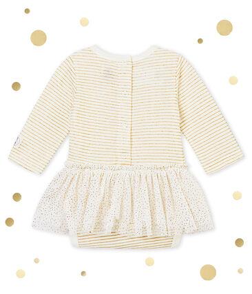 Abito body per bebé femmina bianco Marshmallow / giallo Dore