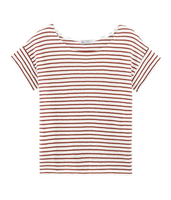 T-shirt maniche corte donna in lino bianco Marshmallow / rosa Copper