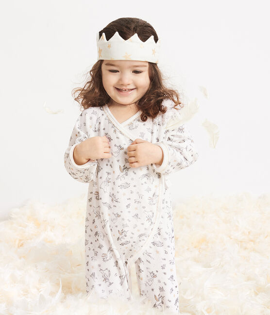 Coroncina bebè a costine bianco Marshmallow / giallo Or