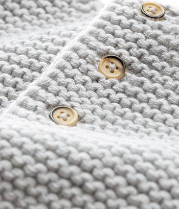 Cardigan in lana e cotone a punto legaccio bebè femmina grigio Beluga
