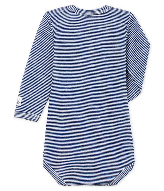 Body maniche lunghe bebè in lana e cotone blu Medieval / bianco Marshmallow Cn