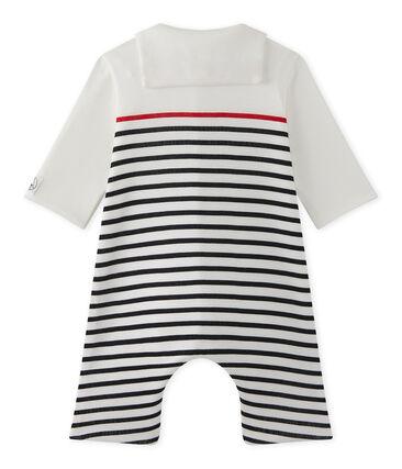 Tutina rigata per bebé maschio con colletto stile marinaro