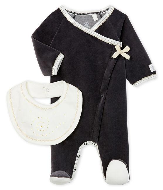 Confezione tutina pigiama e bavaglino bebè in ciniglia lotto .