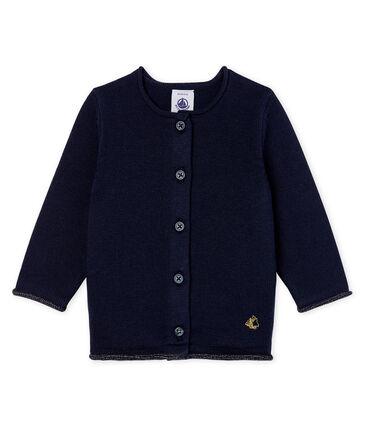 Cardigan essenziale bambina in maglia di lana e cotone blu Smoking