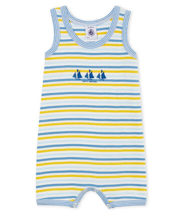 Tutina corta bebè bambino a costine blu Alaska / bianco Multico