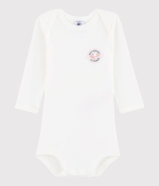 Body manica lunga bebè femmina bianco Marshmallow / rosa Petal