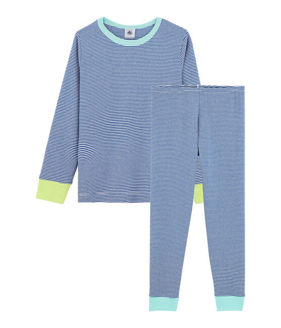 Pigiama bambino a costine blu Pablito / bianco Marshmallow