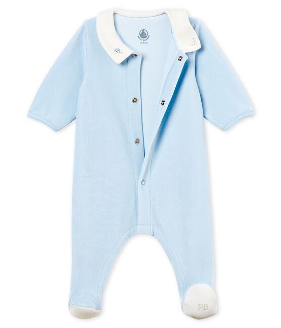 Tutina pigiama bebè maschietto in velluto di cotone tinta unita blu Fraicheur