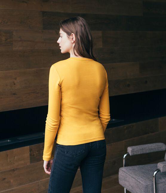 T-shirt manica lunga iconica donna giallo Boudor