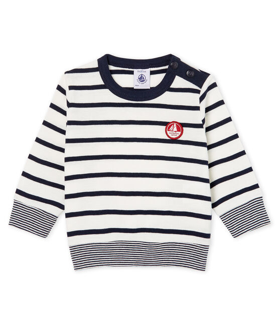 T-shirt a manica lunga bebè maschio a righe marinare bianco Marshmallow / blu Smoking
