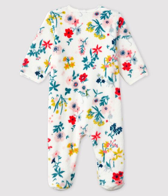 Tutina imbottita stampa a fiori bebé femmina in pile bianco Marshmallow / bianco Multico