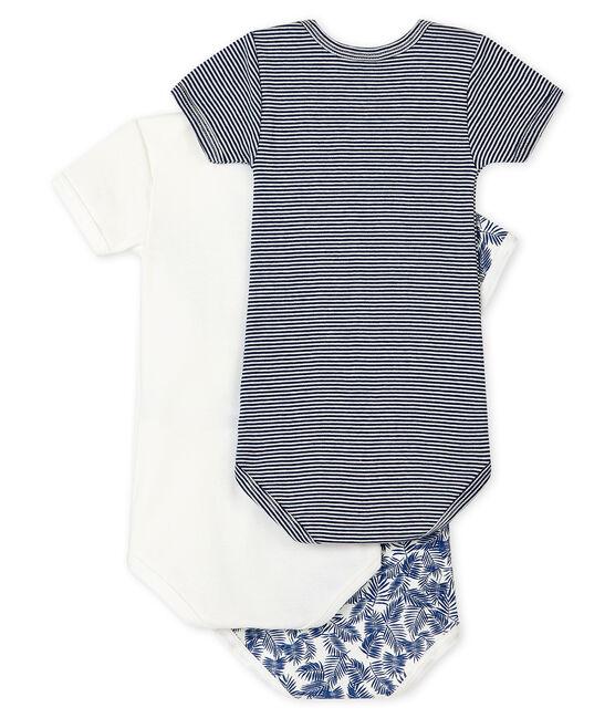 Confezione da 3 body manica corta blu bebè maschio lotto .