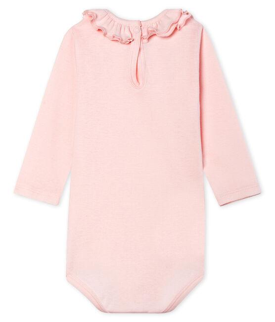 Body manica lunga bebè femmina con collettino rosa Fleur