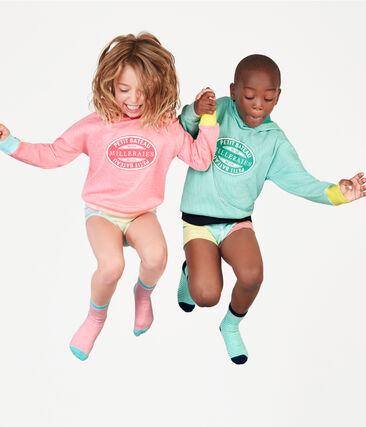Felpa bambino con cappuccio a costine rosa Cupcake / bianco Marshmallow