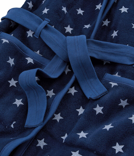 Vestaglia da bambino in pile blu Medieval / bianco Marshmallow