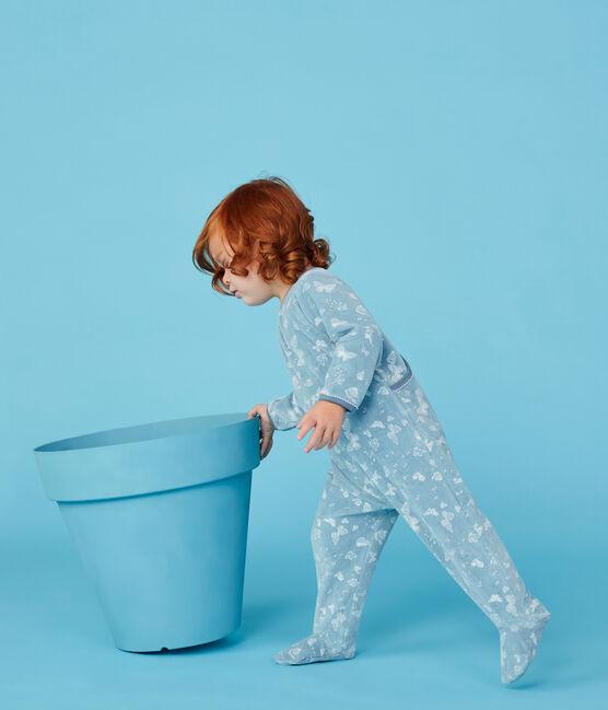 Tutina bebè bambina in cotone blu Fontaine / bianco Marshmallow