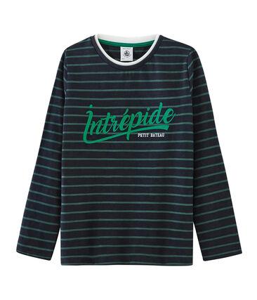 T-shirt maniche lunghe bambino blu Smoking / verde Sousbois