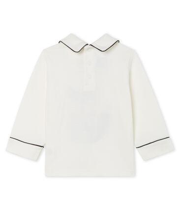 T-shirt a manica lunga bebè maschio con colletto bianco Marshmallow Cn