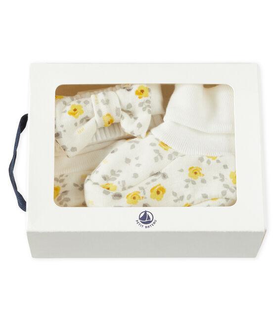 Set fascia e babbucce bebè femmina in lana e cotone lotto .