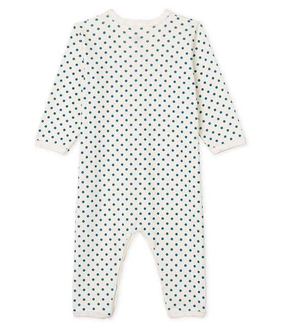 Tutina senza piedi a costine bebè femmina bianco Marshmallow / blu Contes Cn