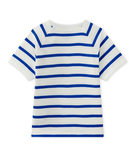 T-shirt bebé bambino a maniche corte bianco Marshmallow / blu Perse