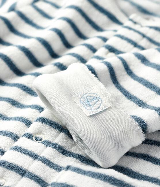 Tutina lunga a righe bebè in spugna bouclette grattata, super calda bianco Marshmallow / blu Astro
