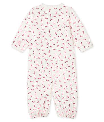 Combisac bebè a costine bianco Marshmallow / rosa Groseiller