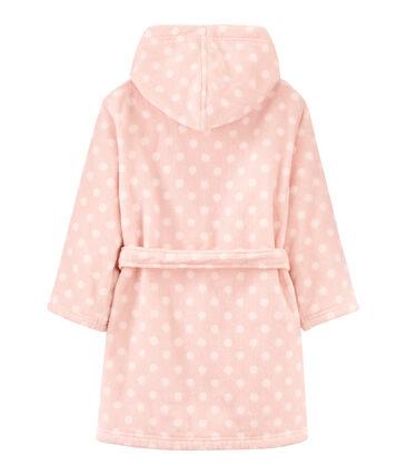 Accappatoio bambina in spugna rosa Minois / bianco Lait
