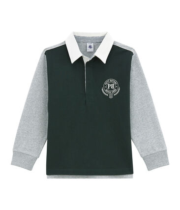 Polo rugby per bambino verde Sherwood / bianco Multico