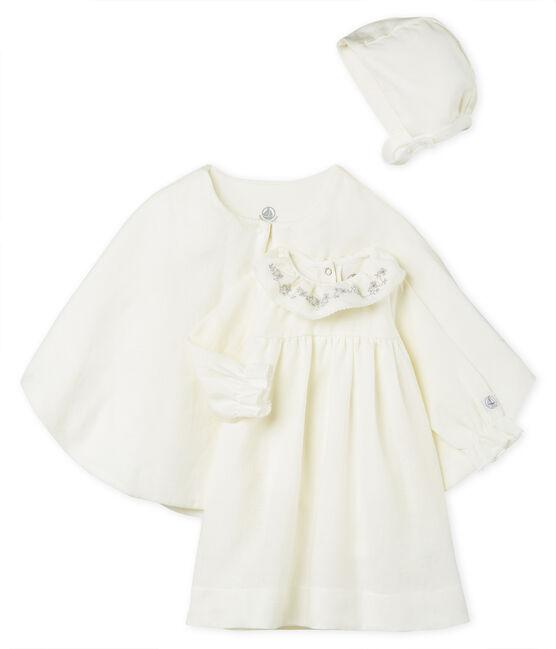 Completo 3 pezzi da cerimonia bebè femmina in lino lotto .