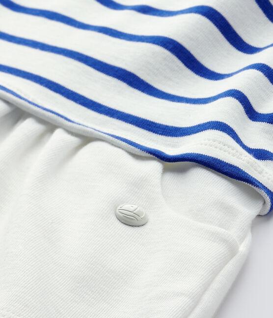 Abito bebé bambina maniche corte bianco Marshmallow / blu Perse