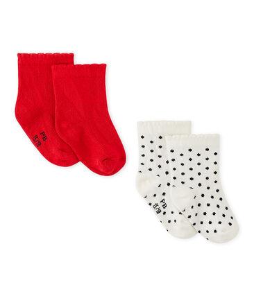 Lotto di 2 paia di calze bebé bambina