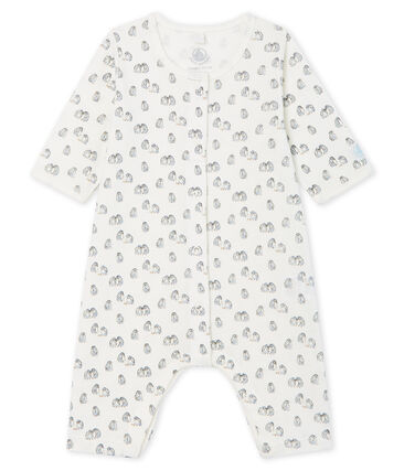 Tutina senza piedi a costine bebè bianco Marshmallow / blu Toudou