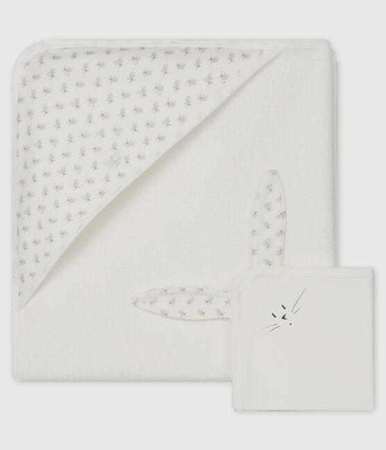 Cofanetto asciugamano quadrato da bagno e doudou bebè in spugna e tubique bianco Marshmallow / bianco Multico