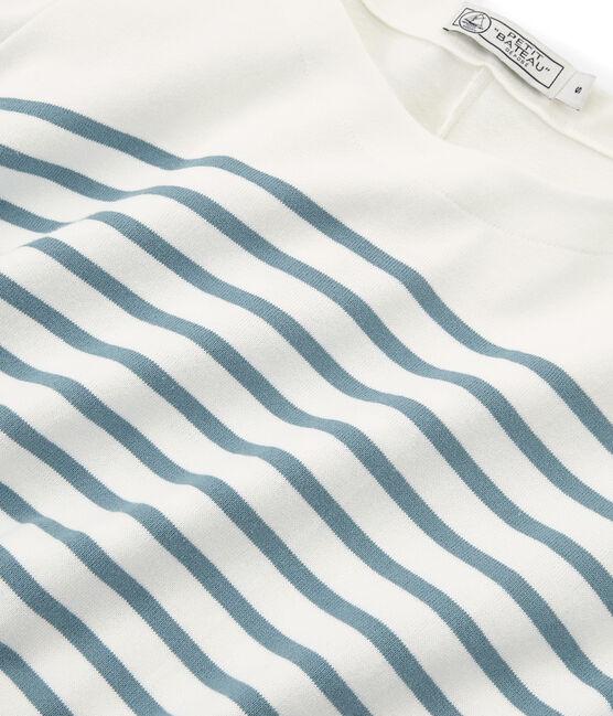 Abito maniche lunghe donna bianco Marshmallow / blu Fontaine