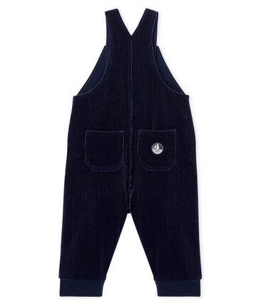 Salopette lunga maschietto in maglia di velluto a costine blu Smoking