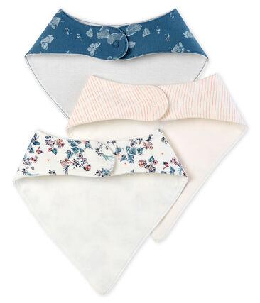 Trio bavaglini bebè femmina in cotone