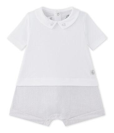 Tutina corta per bebé maschio doppio tessuto bianco Ecume / beige Beige