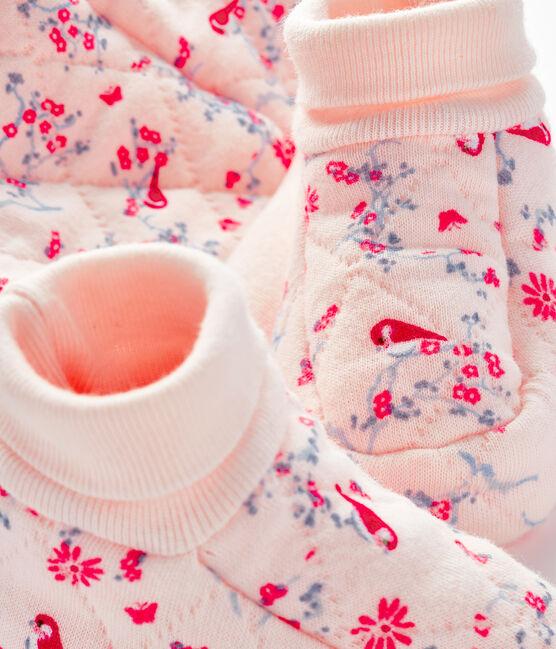 Confezione cuffietta e babbucce bebè in tubique rosa Fleur / bianco Multico