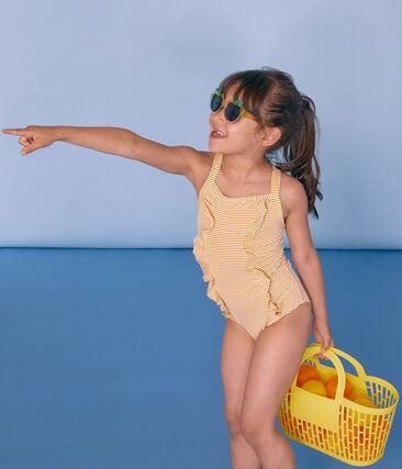 Costume intero bambina giallo Bamboo / bianco Marshmallow