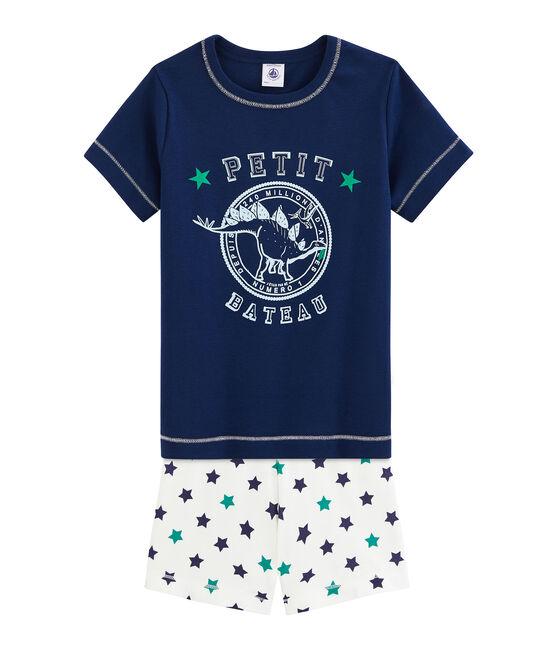 Pigiama corto bambino in lino/cotone blu Medieval / bianco Multico