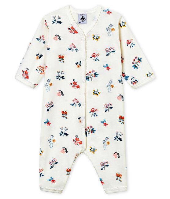 Tutina pigiama senza piedi in costina da neonata bianco Marshmallow / bianco Multico
