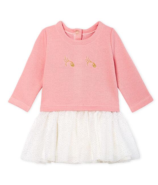 Abito bi-materiale a maniche lunghe da bebè femmina rosa Charme / bianco Multico