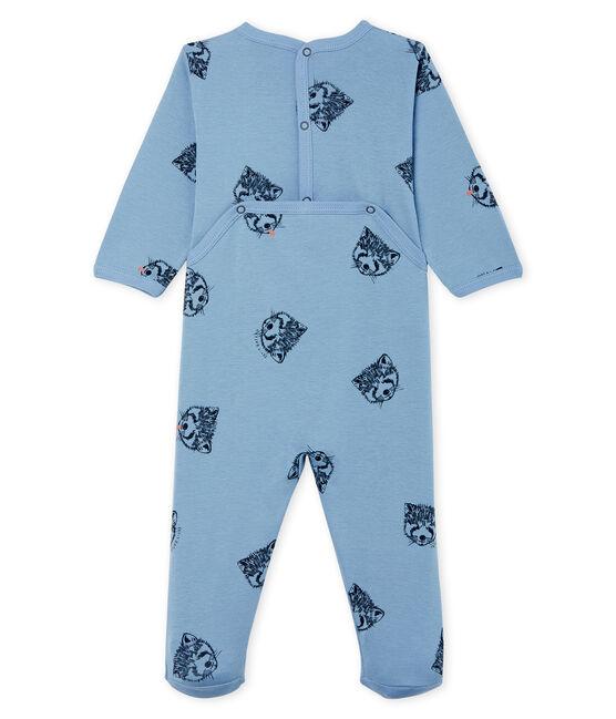Tutina bebè maschio a costine blu Acier / bianco Multico