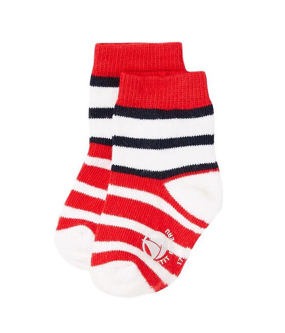 Calzine per bebè maschio a righe rosso Peps / bianco Multico