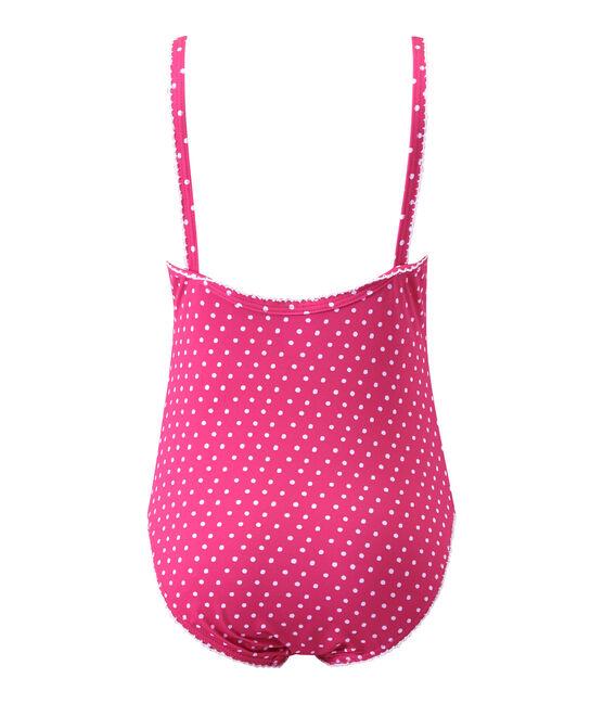 Costume da bagno bambina intero a pois rosa Petunia / bianco Marshmallo